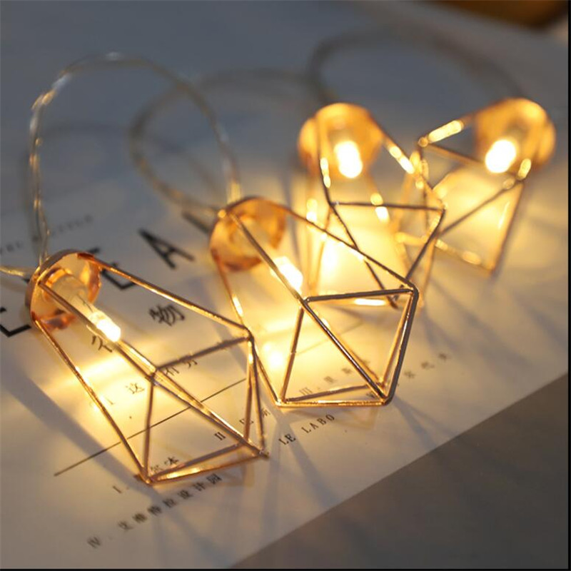 4M 20LED String Lights Iron Rustic Cage Lantern Metal Diamond Shape Garden Light Christmas Holiday AC220V in Holiday Lighting from Lights Lighting