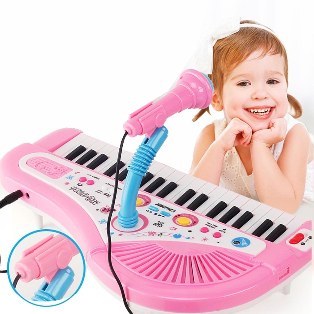 MUQGEW Piano jouet pour enfants 37 clés Instrument électronique Microphone multifonctionnel juguetes educativos enfants jouets