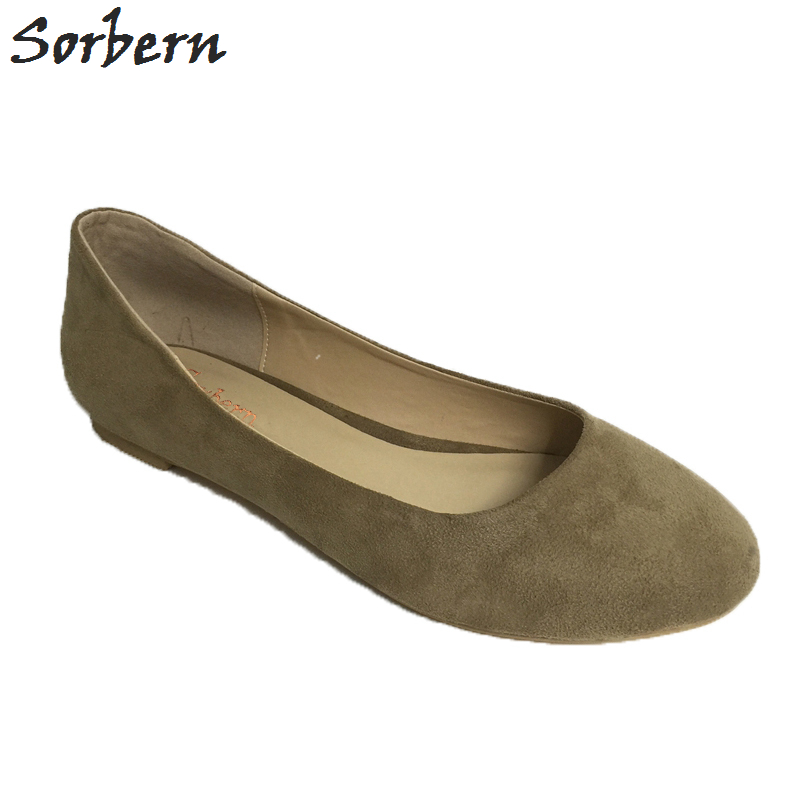 Sorbern Khkai Flat Shoes Women Round Toe Custom Plus Size 34-46 Zapatos Mujer Flat Heels Ballet Flats Slip On Shoes For Women meotina women flat shoes ankle strap flats pointed toe ballet shoes two piece ladies flats beading causal shoes beige size 34 43