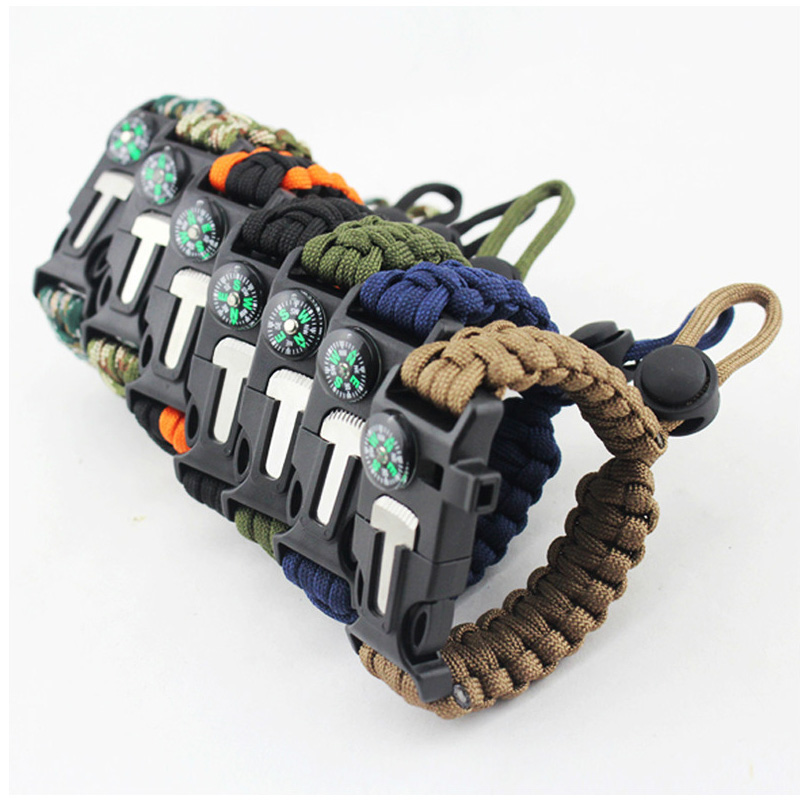 Multi-function Paracord Bracelet 4 In 1 Survival Rope Bracelet Outdoor Camping Rescue Bracelet Rope With Compass Whistle Knife