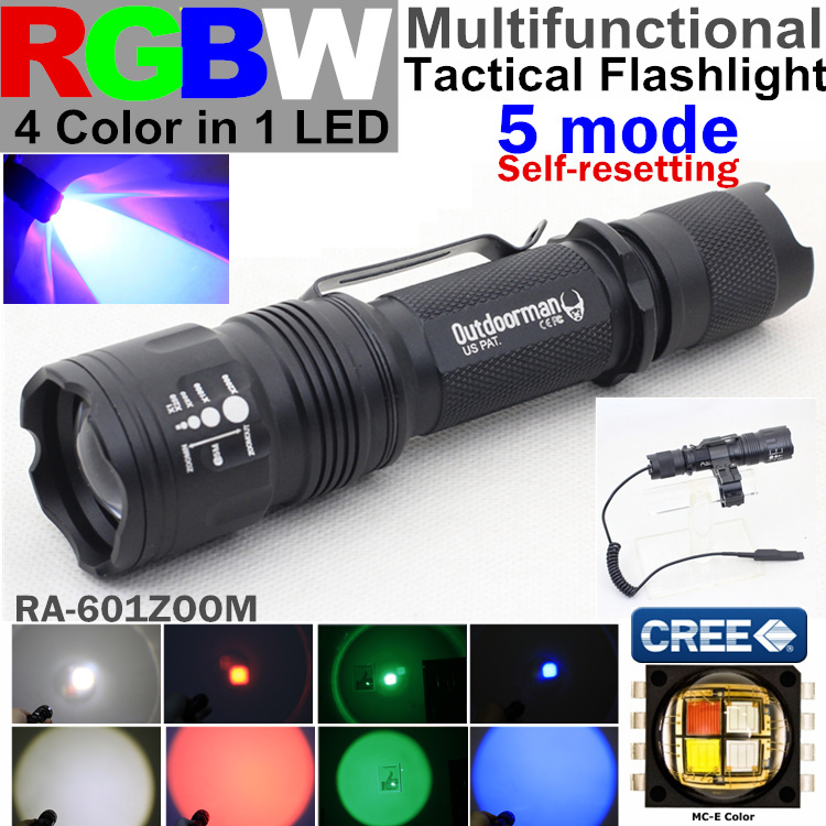 RA-601ZOOM 5 mode CREE MC-E RGBW 4 color 1(red blue green white)zoom Police torch Tactical Flashlight Lantern light - QIHANG fashion shop store