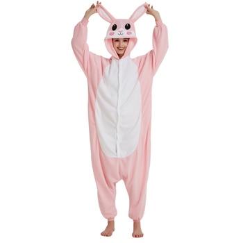 6e7e26bdf2 Rosa pijamas de conejo Animal Onesie para adultos hombres y mujeres  overoles de invierno de lana ropa de dormir Cosplay fiesta mono Kigurumi  Onepiece