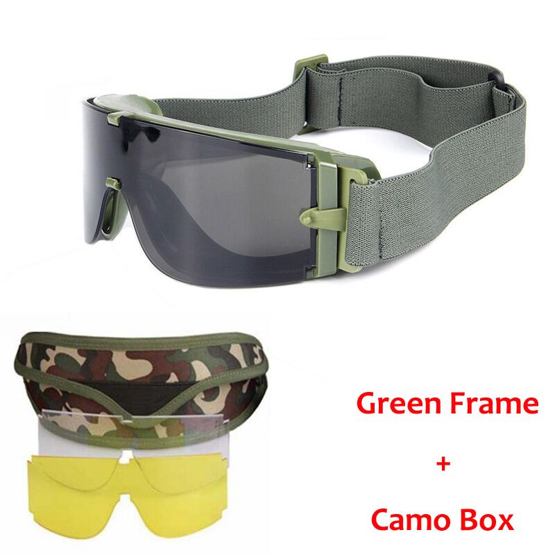 Gafas militares de Airsoft Tactical Gafas de seguridad Gafas de combate 3 Gafas tácticas intercambiables antiniebla