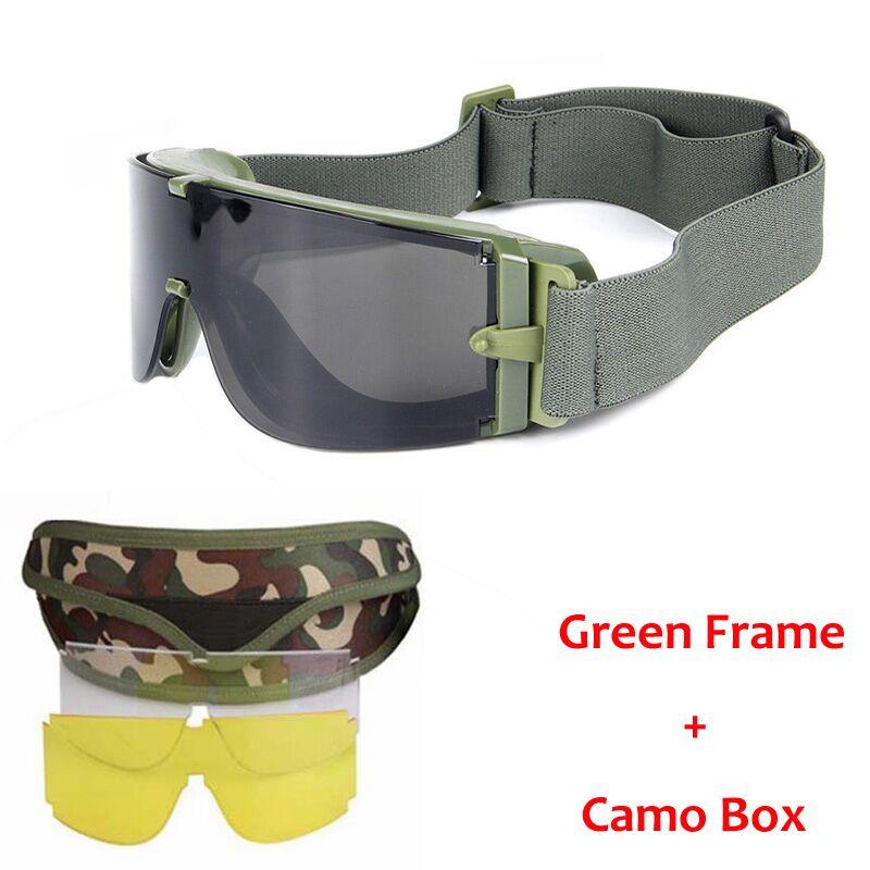 Militär Airsoft Tactical Goggles Säkerhetsglasögon Combat Goggles 3 Utbytbara Anti-Fog taktiska skyddsglasögon