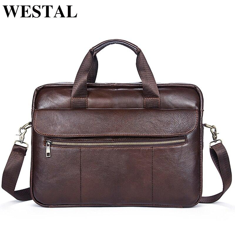 WESTAL кожаная сумка для ноутбука 14 для мужчин's сумки на плечо человек пояса из натуральной кожи Crossbody портфели сумки 1117