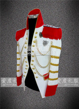 white golden binding vintage medieval tuxedo jacket red and golden decoration /event/stage performance/this is only jacket