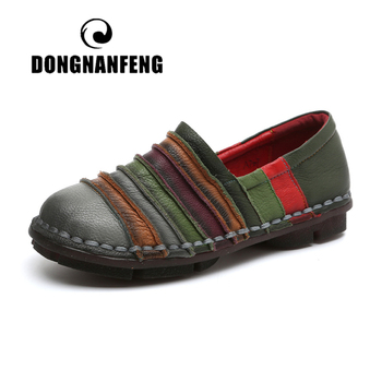 dongnanfeng women female old mother shoes flats loafers casual slip on cow genuine leather pu bow round toe spring 34 43 qbl 922 DONGNANFENG Women Flats Mother Shoes Pigskin Cow Genuine Leather Loafers Vintage Patchwork Casual Rubber Slip On 35-42 YD-A707