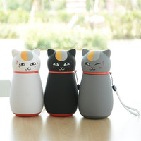 Mini 248ml Cute 3D Japanese Cat Stainless Steel Vacuum Thermos Water Bottle Lovely Cat Coffee Mug