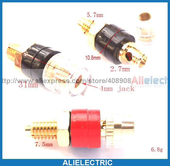 ФОТО 20pcs Copper Crystal Binding Post for Speaker Amplifier Terminal 4mm Banana Plug