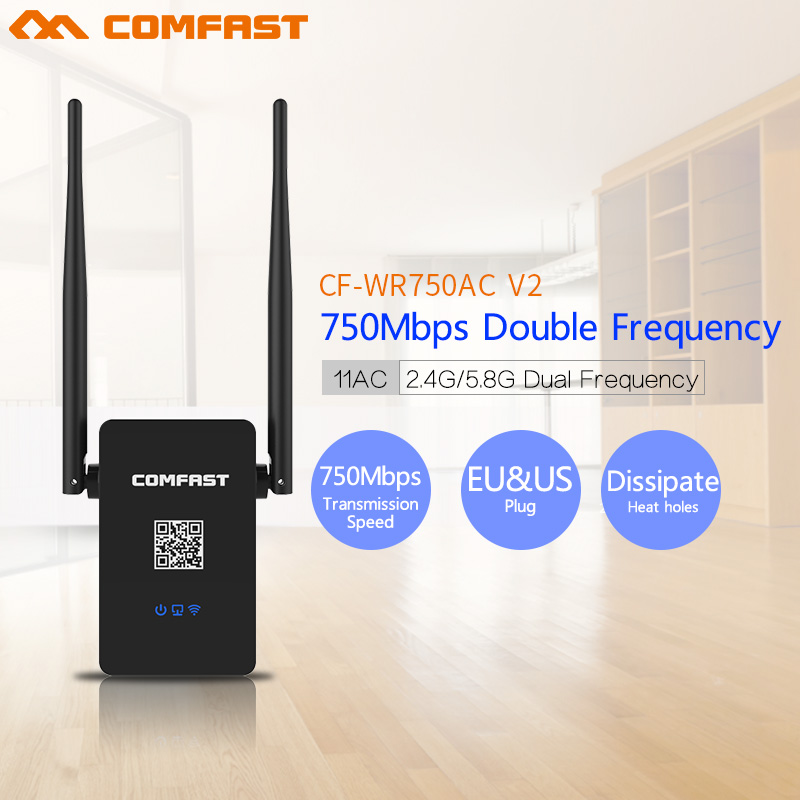 Comfast CF WR750 V2 Dual Band 750Mbps Wifi Repeaters Roteador 802 11AC Wireless Router 2 4