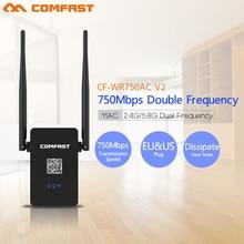 Comfast CF-WR750 V2 Dual Band 750 Мбит Wi-Fi Ретрансляторы Roteador Wi-fi 802.11AC Беспроводной Маршрутизатор 2.4 + 5 ГГц ПЕРЕМЕННОГО ТОКА сигнал Продлить Усилитель