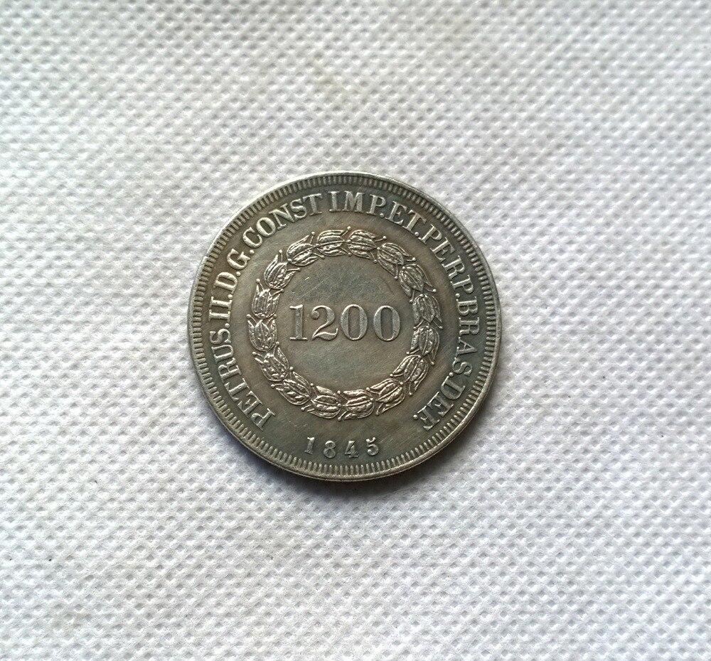 1845 Бразилия 1200 Reis МОНЕТА КОПИЯ БЕСПЛАТНАЯ ДОСТАВКА
