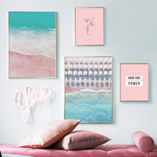 Beach Sea Pink Line Face Quotes Nordic Posters And Prints Wall Art Canvas Painting Landscape Pictures For Living Room Decor