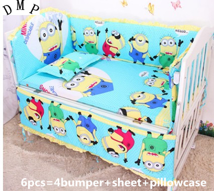 Promotion! 6PCS Baby Crib Bedding Set for Girls Cartoon Newborn Baby Bed Linens Cotton ,include:(bumper+sheet+pillow cover) promotion 6pcs embroidery baby newborn bed crib sheet sets children bedding boy girls include bumper duvet bed cover
