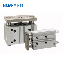 NBSANMINSE MGPL Bore12mm Compact Cylinder Miniature Guide Rod Air Cylinder SMC Type ISO Double Acting Pneumatic Automation Parts nbsanminse mgpl bore 25mm smc type iso miniature guide rod double acting pneumatic compact guide cylinder