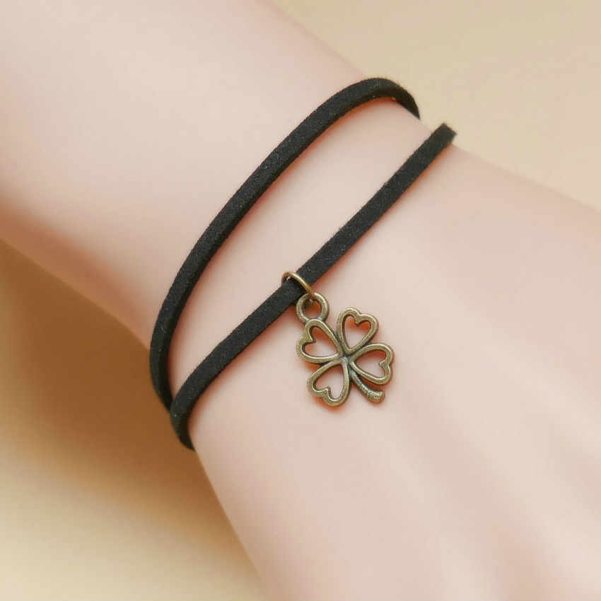 1 pcs sell NEW Double Flannelette Copper Clover Bangles Multilayer Rope Bracelet for Women&Men Friendship Bracelets High Quality