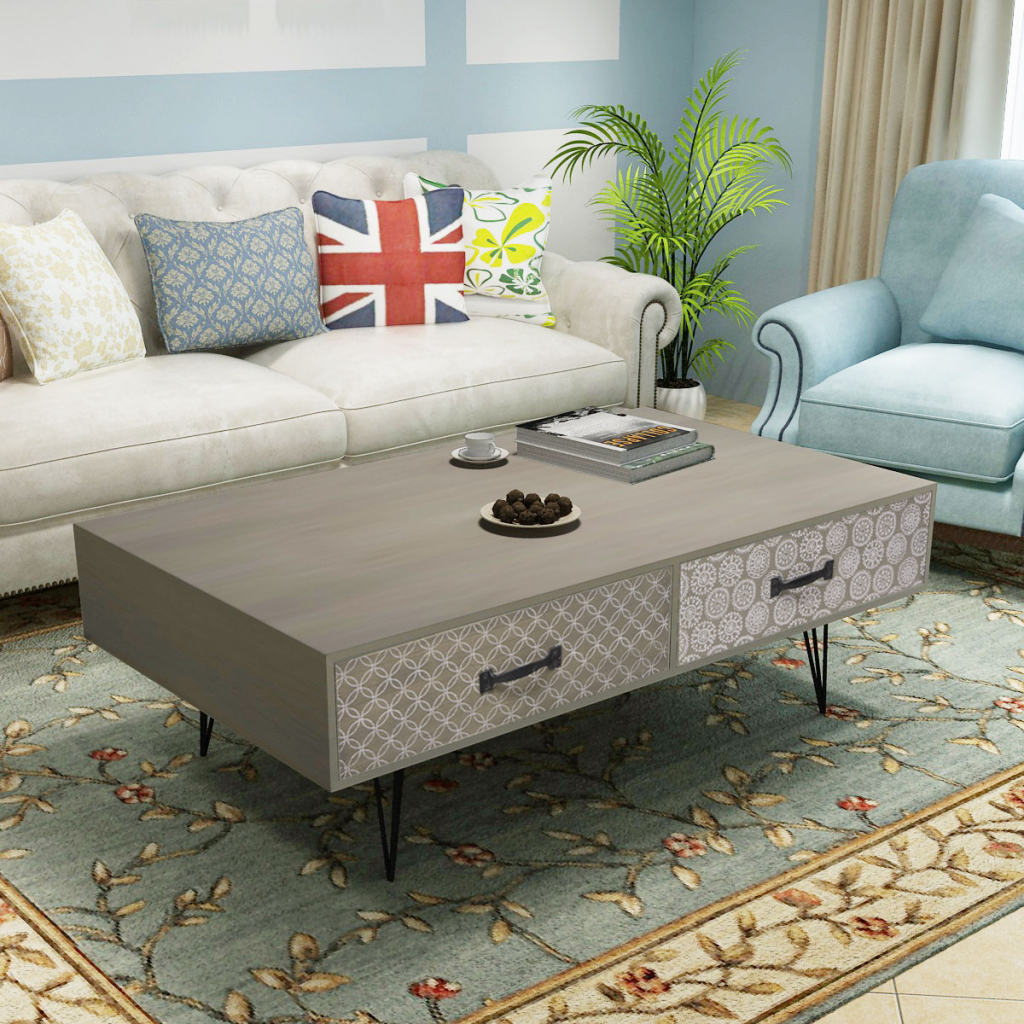 IKAYAA Retro Design Coffee Table With 4 Drawers 100x60x35