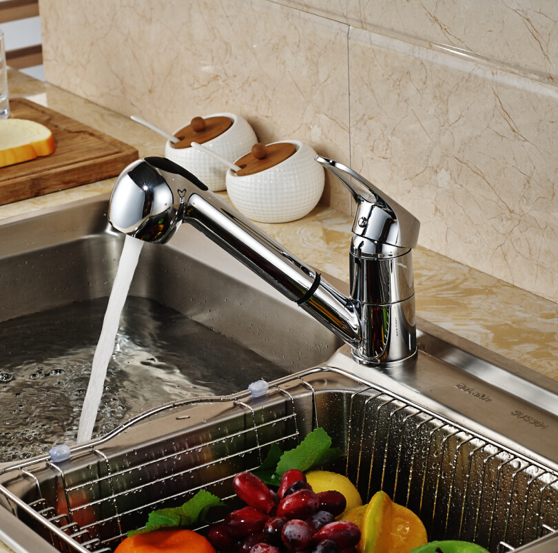 Deck Mounted Pull Out Kitchen Faucet Dual Sprayer Single Handle Hole Vessel Sink Mixer Tap Hot And Cold Water new pull out sprayer kitchen faucet swivel spout vessel sink mixer tap single handle hole hot and cold
