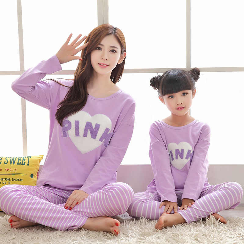 2019 Gadis Musim Dingin Piyama Anak-anak Keluarga Bergaris Natal Piyama Set Ibu dan Anak Pakaian Ibu dan Aku Pijamas Kapas