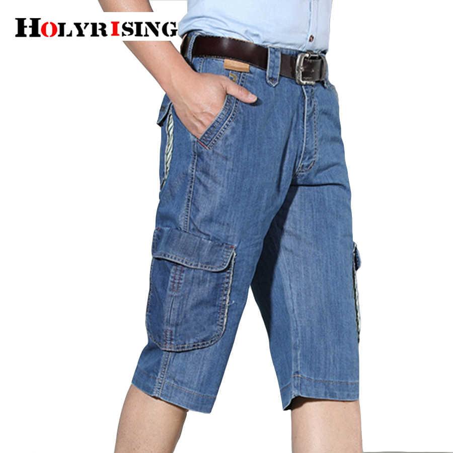 Pantalones cortos de mezclilla Cargo Retro para hombre, pantalones cortos de algodón sueltos lisos informales, pantalones cortos Cargo hasta la rodilla con múltiples bolsillos para hombre, tamaño 30-44 18389-5