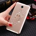 Sorriso case para lenovo k6 5.0 polegada capa de ouro amor strass limpar plástico rígido phone case para lenovo k6 nota 5.5 polegada