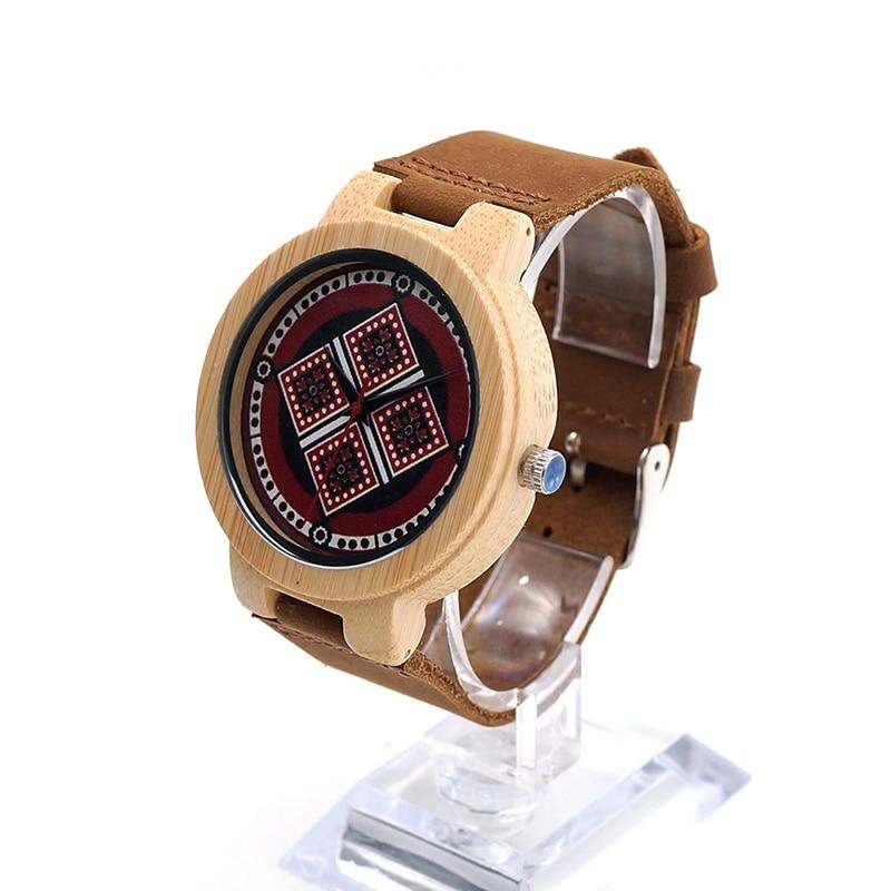 ФОТО BOBOBIRD J12 Fashion Design Mens Bamboo Watch UV Priting Colourful Diamond Pattern Dial Quartz  Mens Watches Top Brand Luxury