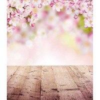 Vinyl Photography Backdrops Children Floral Spring Photo Background For Photo Studio Backdrop 5X7ft Wood Floor Background