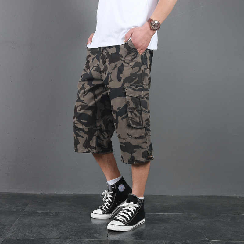 2019 Men Long Cargo Shorts Male Summer Bermuda Elastic Waist Army Camo Baggy Short Plus Size Big Loose Large Camouflage