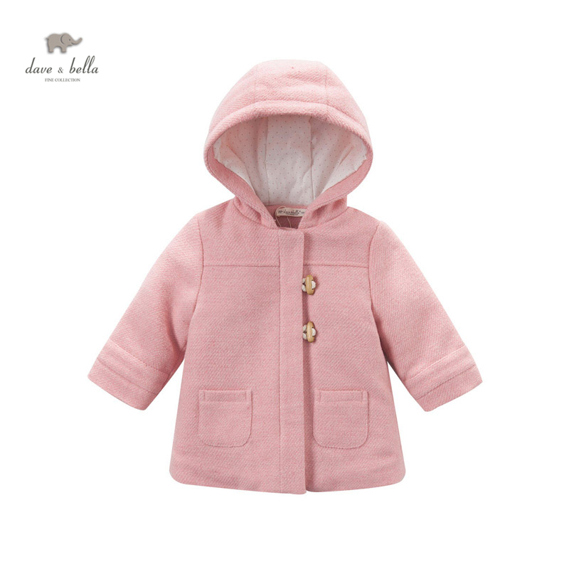 DB4224 dave bella baby girls pink hooded blends girls wool cotton  coat