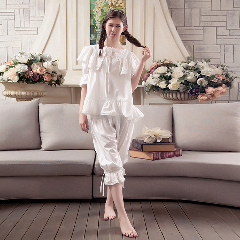2017 Cotton Women Pajamas Ladies Sweat Lace Breathable Sleepwear Robes Korean Cute Casual Princess Two Pieces Nightgowns Sets