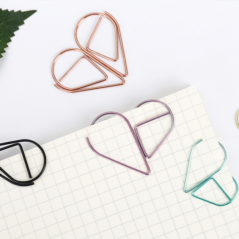 10 Clips/lot Korean Stationery Hollow Out Binder Clips Water Drop Paper Clips Notes Letter Notebook Clips Diy Bookmark-6 Colors Crease-Resistance
