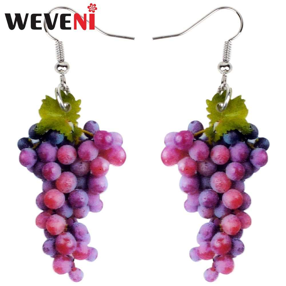 WEVENI Acrylic Sweet A Bunch Of Grape Earrings Big Long Dangle Drop Fashion Tropic Fruit Jewelry For Women Girls Ladies Summer