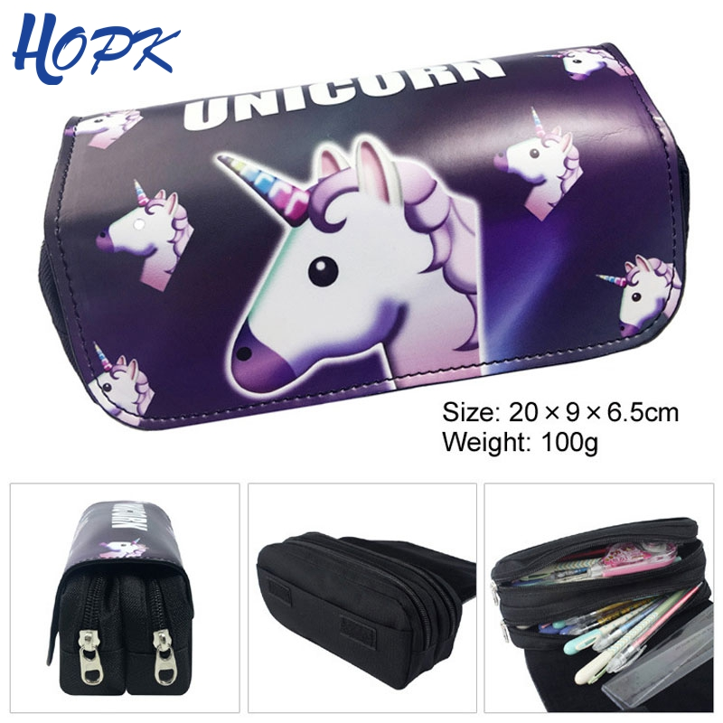 Kawaii Unicorn Pencil Case for Girls Cute Black PU Leather Big Capacity Pencilcase Pen Bag Stationery Pouch Box School Supplies cute girl penalty pencil case with lock big capacity pu korean stationery for girls pen bag pouch pencilcase school supplies