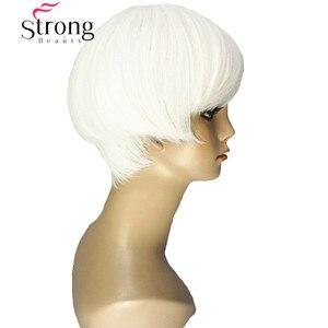 Image 2 - قوي الجمال قصيرة لينة بيضاء شعر مستعار أشقر الحرارة freindy الاصطناعية شعر مستعار كامل للنساء