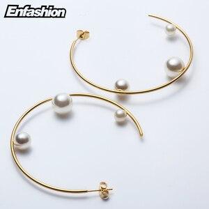 Image 3 - Enfashion תכשיטי גיאומטרי פרל קו חישוק עגילי זהב צבע נירוסטה מעגל עגילים לנשים עגילי EEF1014