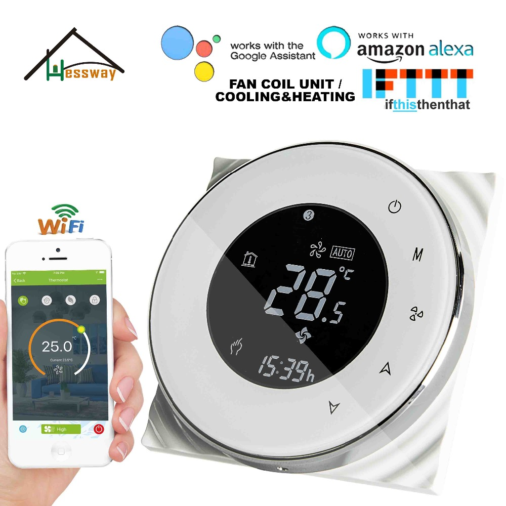 HESSWAY 2P 3 Speed Fan Coil Unit WIFI Thermostat Cooling Heating For NO/NC Valve Control By With Alexa Google Home