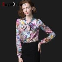 Women Print Blouse REAL Silk Satin Women Blouses Bow Tie Collar Shirt Blusas Femininas PLUS SIZE