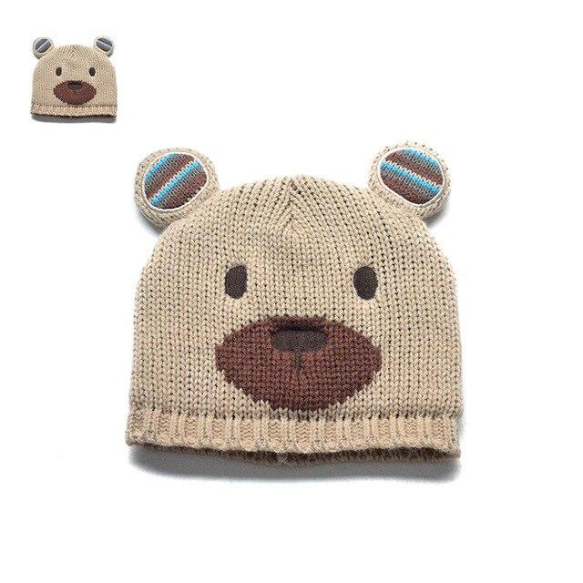Nueva moda Lovely baby gorros tejidos de dibujos animados oso ...