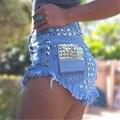 Marca de Moda das mulheres Do Vintage Borla Rebite Rasgado Soltas Short Jeans de Cintura Alta Do Punk Sexy Hot Denim Shorts Mulher SY010
