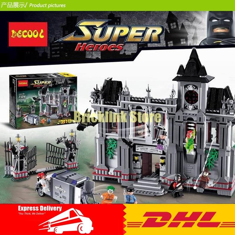 DHL Decool 7124 1619 pcs Super Heroes series the Batman Arkham Asylum Breakout Brick model building blocks compatible 10937 a toy a dream new decool 7124 genuine series marvel batman movie arkham asylum building blocks bricks toys with