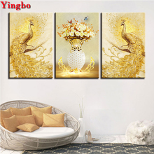 DIY Full Square Diamond Embroidery Cross Stitch 3 Pieces Golden Peacock Couple picture of Rhinestones Mosaic Diamond Painting