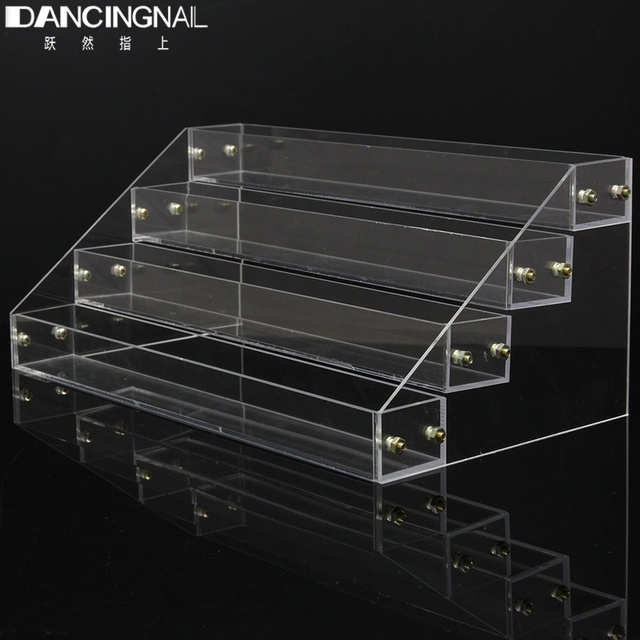 Pro 4 Tiers Removable Nail Polish Shelf Acrylic Clear Cosmetic Varnish Display Stand Holder Women Makeup Organizer Makeup Case
