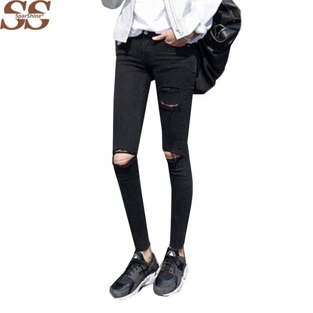2017 Estilo de La Moda Femme Señoras Elásticos Delgados pantalones Vaqueros Del Agujero Ocasional Para Las Mujeres Suaves Apretados Pantalones Skinny Lápiz Negro de Mezclilla