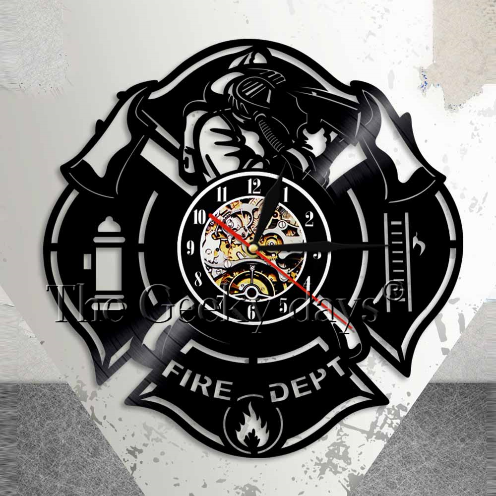 Fire Department Logo Wall Sign Fire Station Wall Clock Firefighter Vinyl Record Clock Firemen Axe Home Decor Vintage Clock Gift