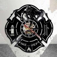 Ogień Departament Logo Znak Stacji Pożaru Strażak Vinyl Record Zegar Ścienny Zegar Ścienny Strażacy Axe Wystrój Domu W Stylu Vintage Zegar Prezent