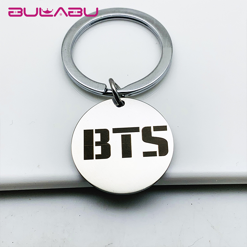 Sliver Metal Round Keychain BTS Letter Carving Stainless Steel Pendant Key Chain Round Split Key Ring Llaveros Para Mujer Hombre