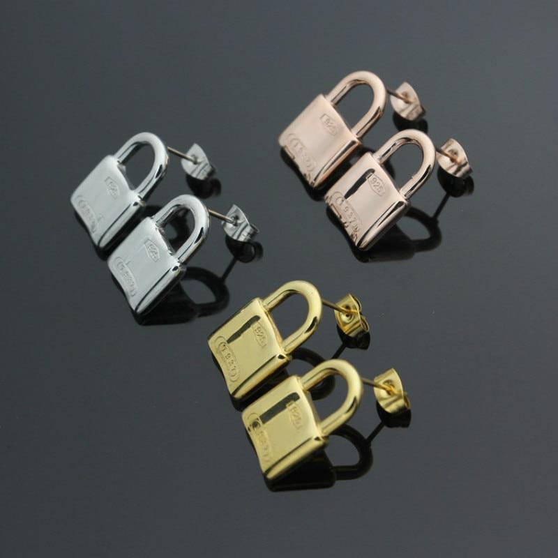 Lock Shape Stud Earrings for Women Titanium Steel Rose Gold Color Small Fashion Earrings Jewelry Drop Shipping
