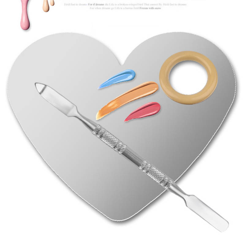 New Nail Art Palette Stainless Steel Heart Professional Color Toning Plate Manicure Pedicure Tools Nails Beauty Accessory Gift