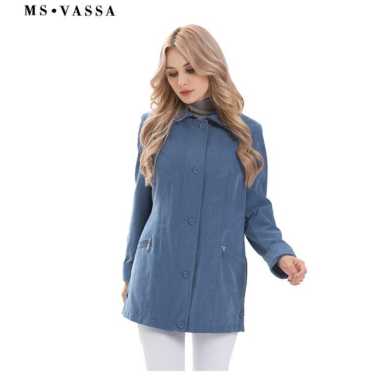 MS VASSA Herbst Jacken Frauen 2018 Neue Damen mäntel micro moos klassische Jacke drehen-unten kragen plus größe 5XL 7XL oberbekleidung