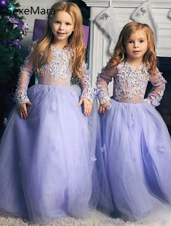 f576ef050d Cute Lavender Little Flower Girls Dresses for Wedding Ball Gown Puffy Tulle  Kids Princess Birthday Party Gown Custom Any Size